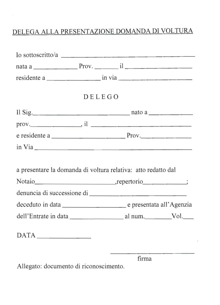 MODELLO DELEGA RITIRO DOCUMENTI - Mansuè
