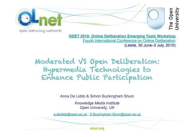 De Liddo - ODET 2010: Online Deliberation Emerging Tools Workshop