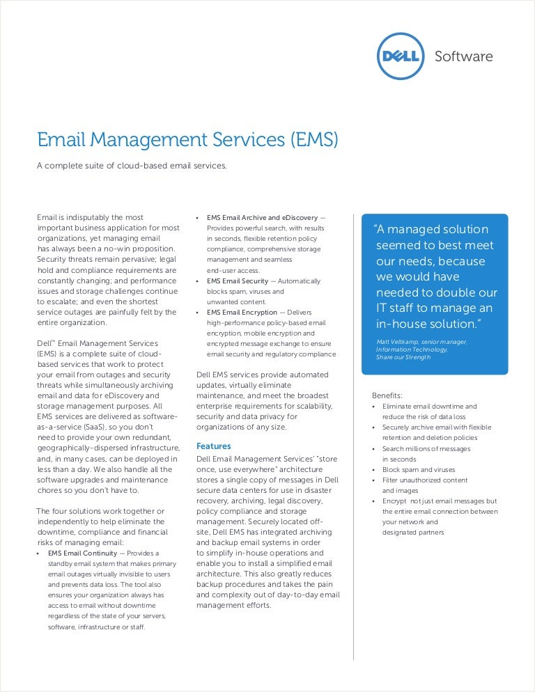 Dell Email Management Servcies (EMS) Overview