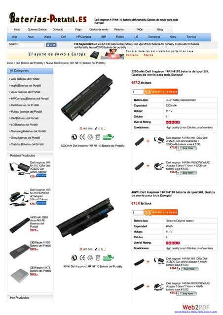 Dell inspiron 14 r n4110 batería at www baterias-portatil-es