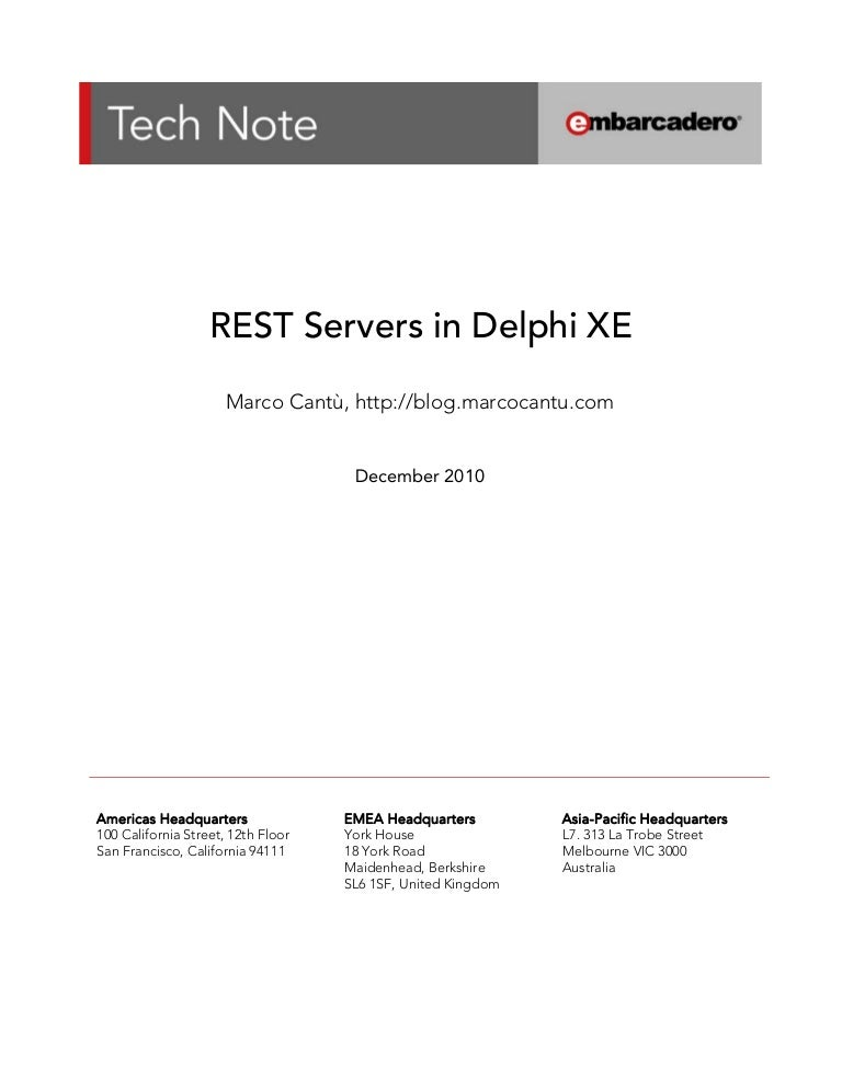 REST Servers in Delphi XE Using DataSnap
