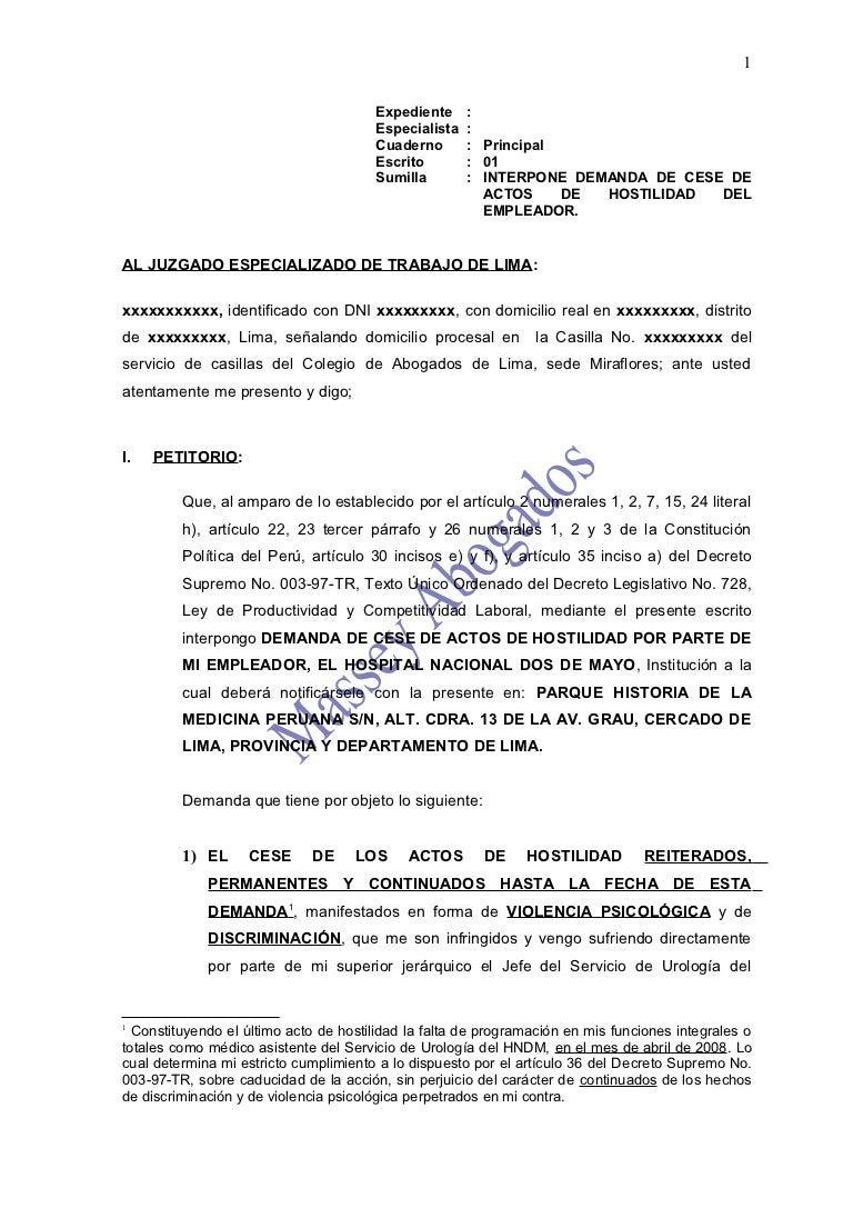 Modelo de demanda de cese de actos de hostilidad del empleador for Consulta demanda de empleo