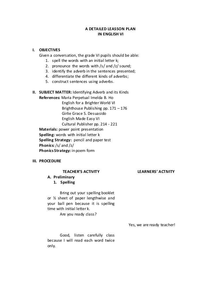 Detailed Lesson Plan On Adverbs For Grade 6