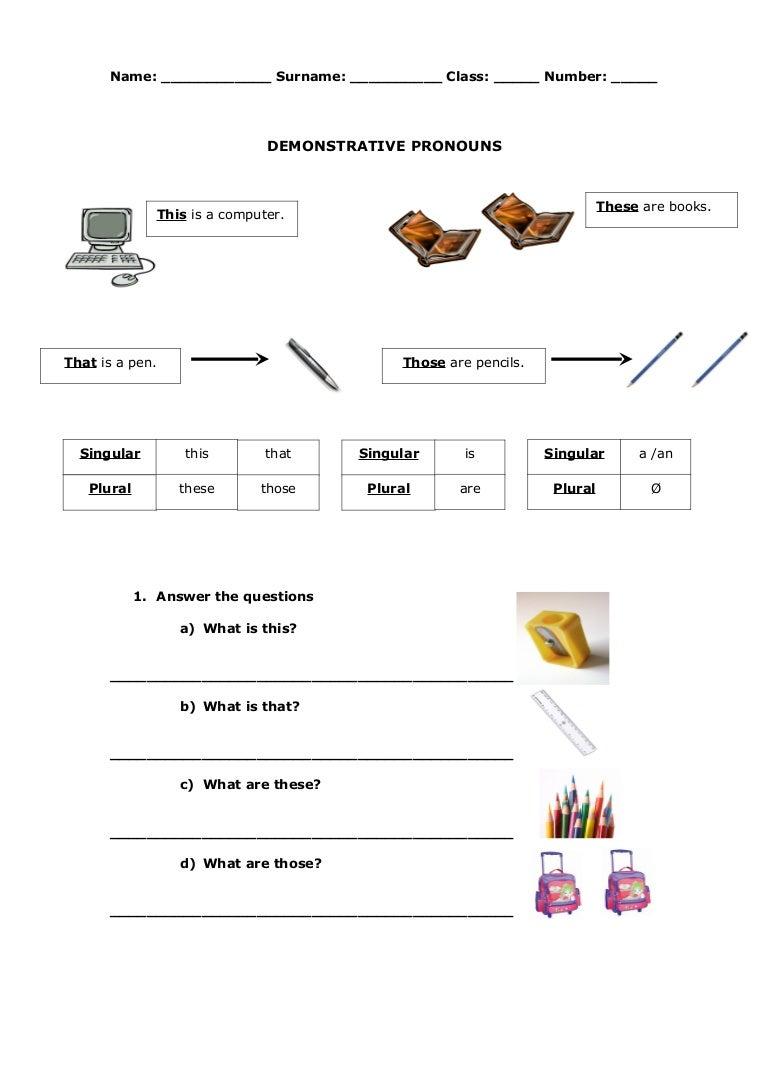 Demonstrative pronouns – Demonstrative Pronouns Worksheet