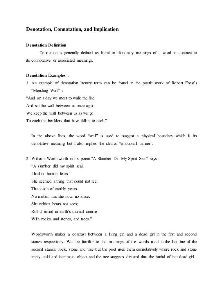 Denotation Connotation And Implication