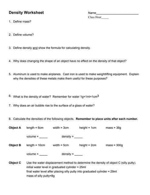 Density worksheet 2 ibookread ePUb