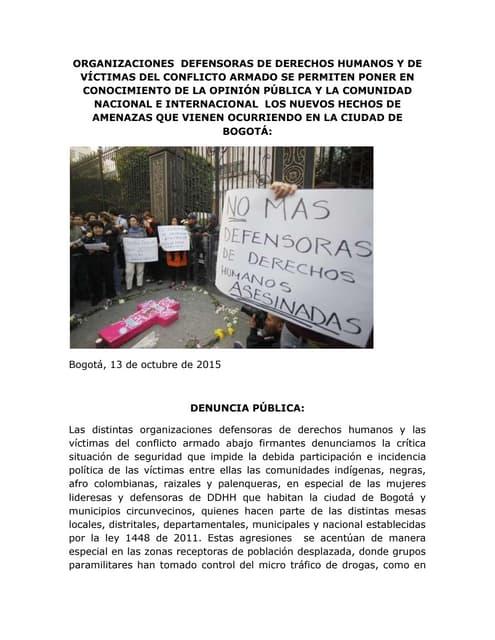 Acción Urgente: Denuncia  amenazas mujeres defensoras DDHH