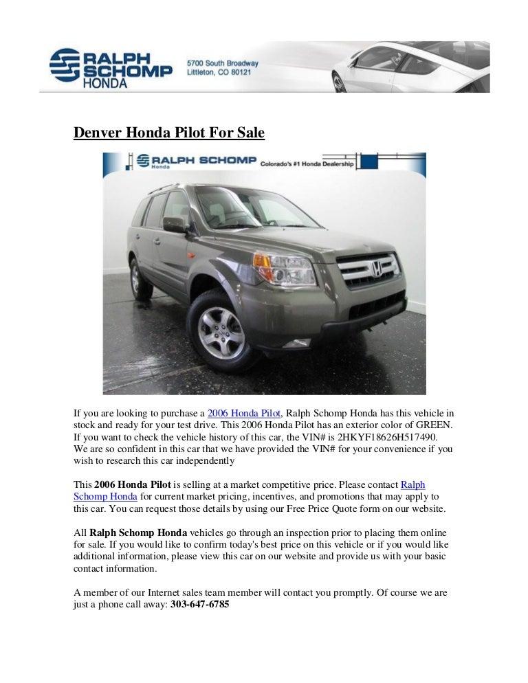 Ralph Schomp Honda >> Denver Honda Pilot For Sale Schomp Honda Denver