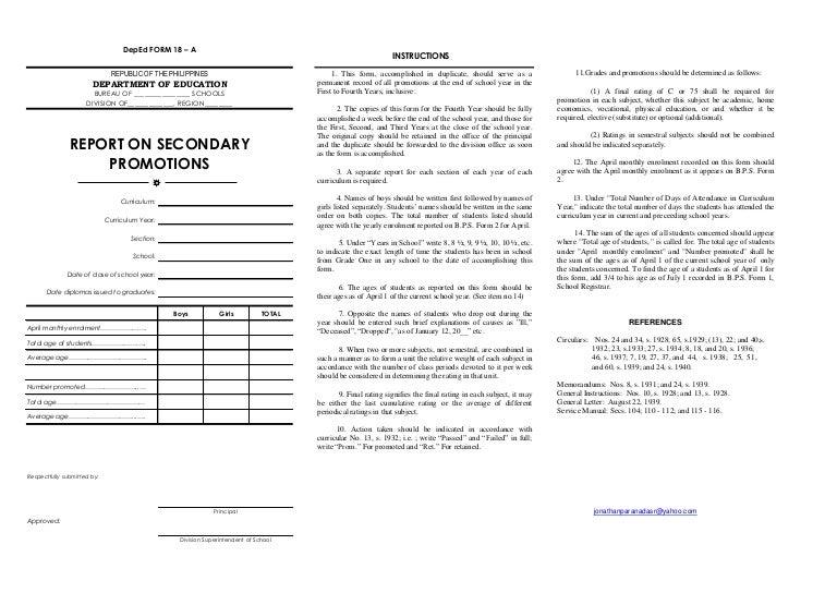 Dep ed form-18a-secondary-by-jonathanparanada