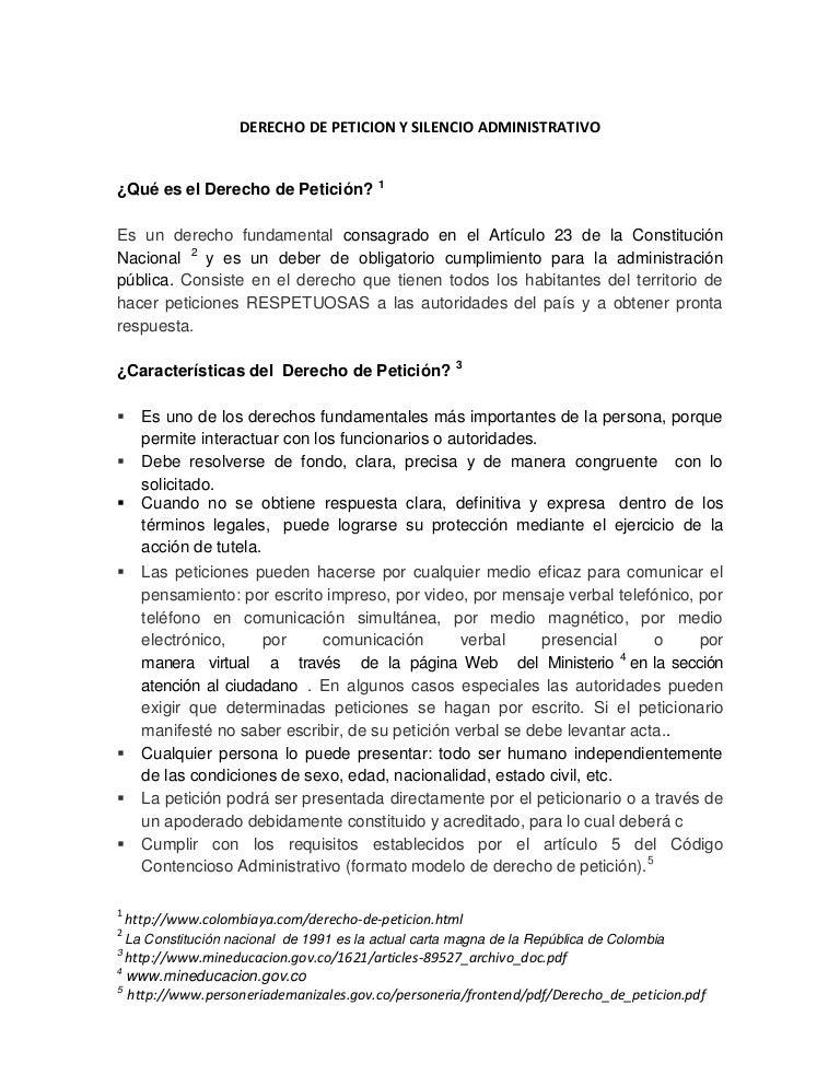 Derecho de peticion y silencio administrativo