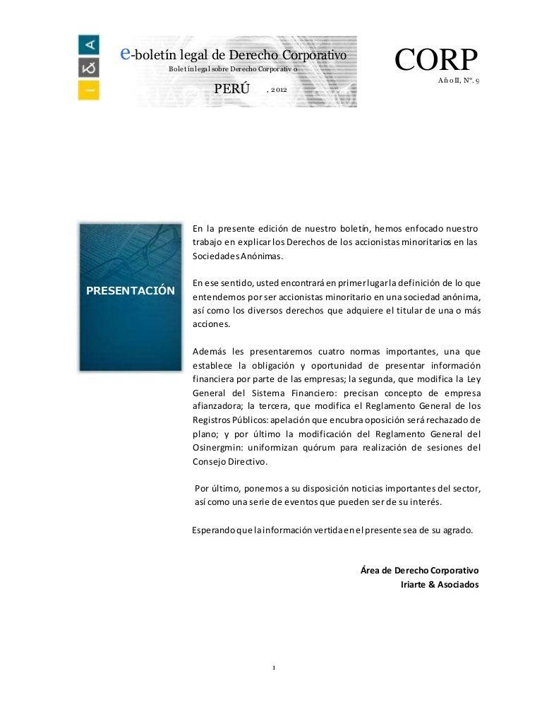 derechos de los accionistas y la situación de los minoritarios en las sociedades anónimos panameñas