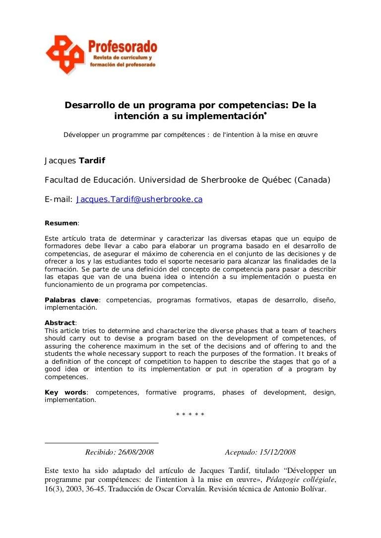 Desarrollo de un programa por competencias tardif