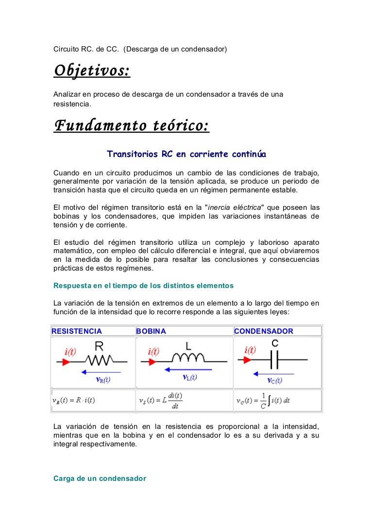 Circuito Rc : Descarga circuito rc