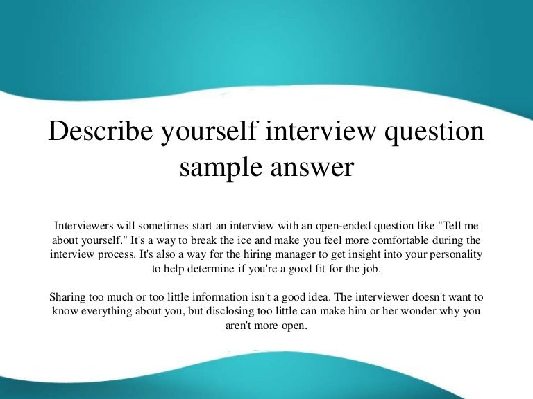 Tell me about yourself online dating examples