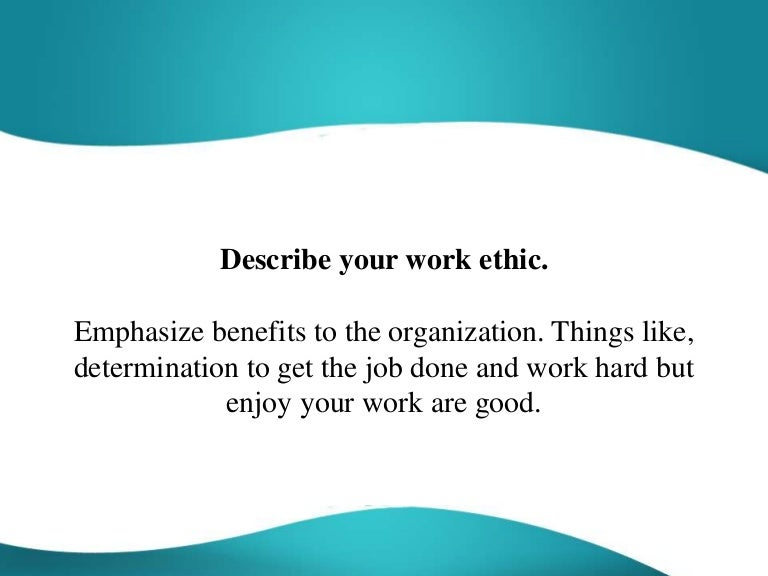 good work ethic examples