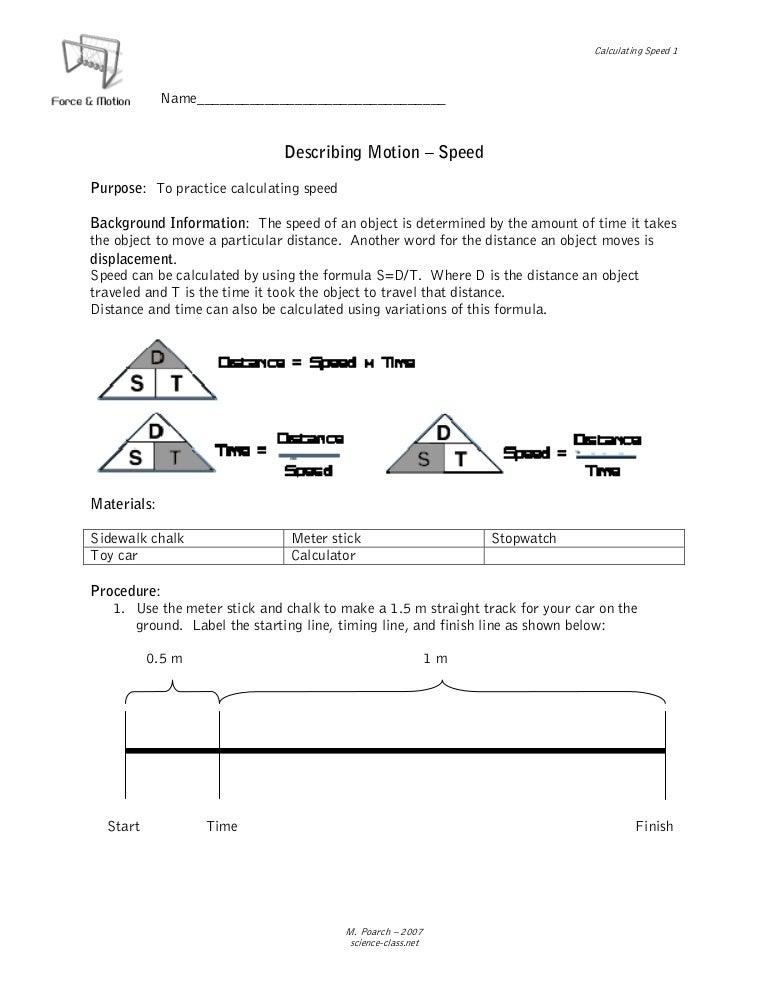 Describing motion speed – Calculating Speed Worksheet Middle School
