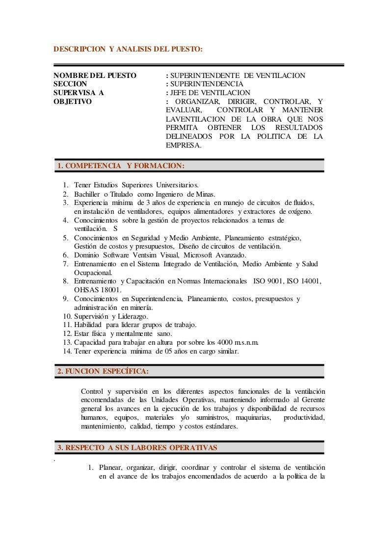 Descripcion y analisis del puesto for Trabajo jefe de cocina