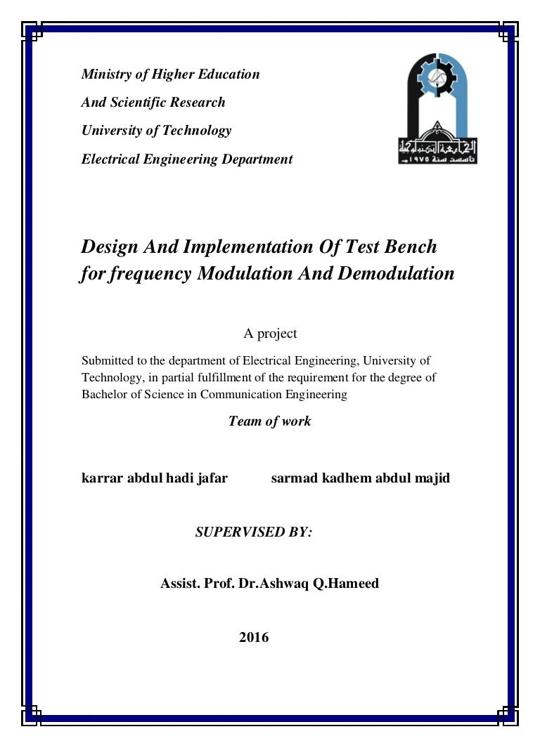 Quadrature Fm Demodulator Circuit Design And Implementation Of Test Bench For Frequency Modulation
