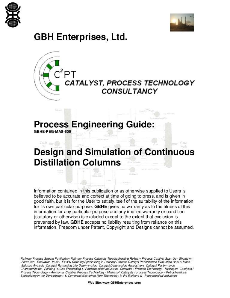 Design And Simulation Of Continuous Distillation Columns