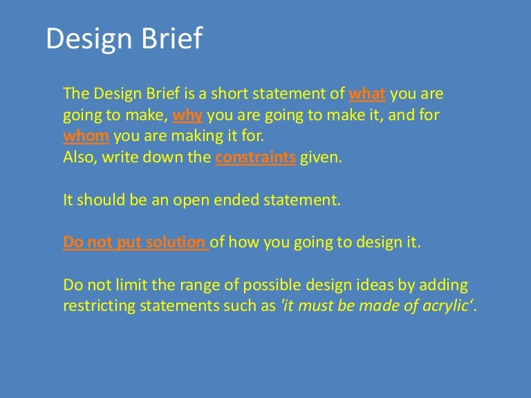 Design Brief For Engineering Design Process