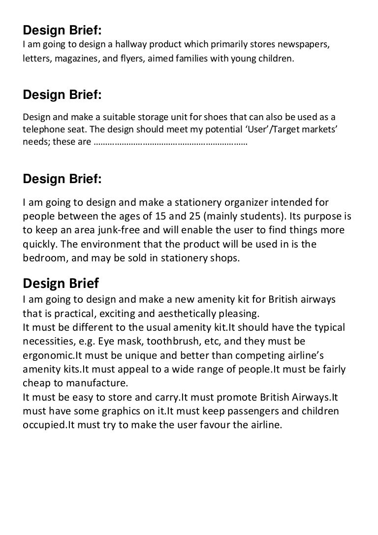 design brief samples
