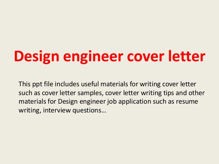 Design engineer cover letter
