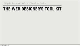 The Web Designers Toolkit
