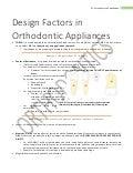 Design Factors in Orthodontic Appliance