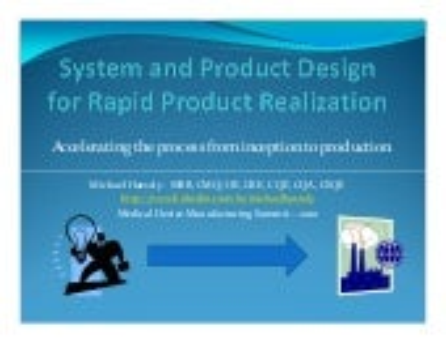 Design For Rapid Product Realization (DFRPR)