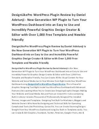 DesignLikePro WordPress Plugin Review by Daniel Adetunji