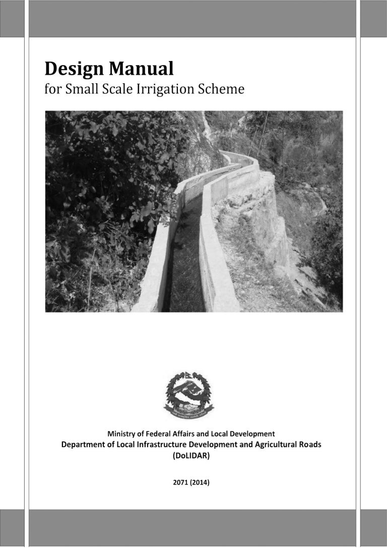 Design mannual for small scale irrigation scheme book