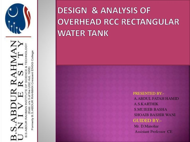 Design of overhead RCC rectangular water tank
