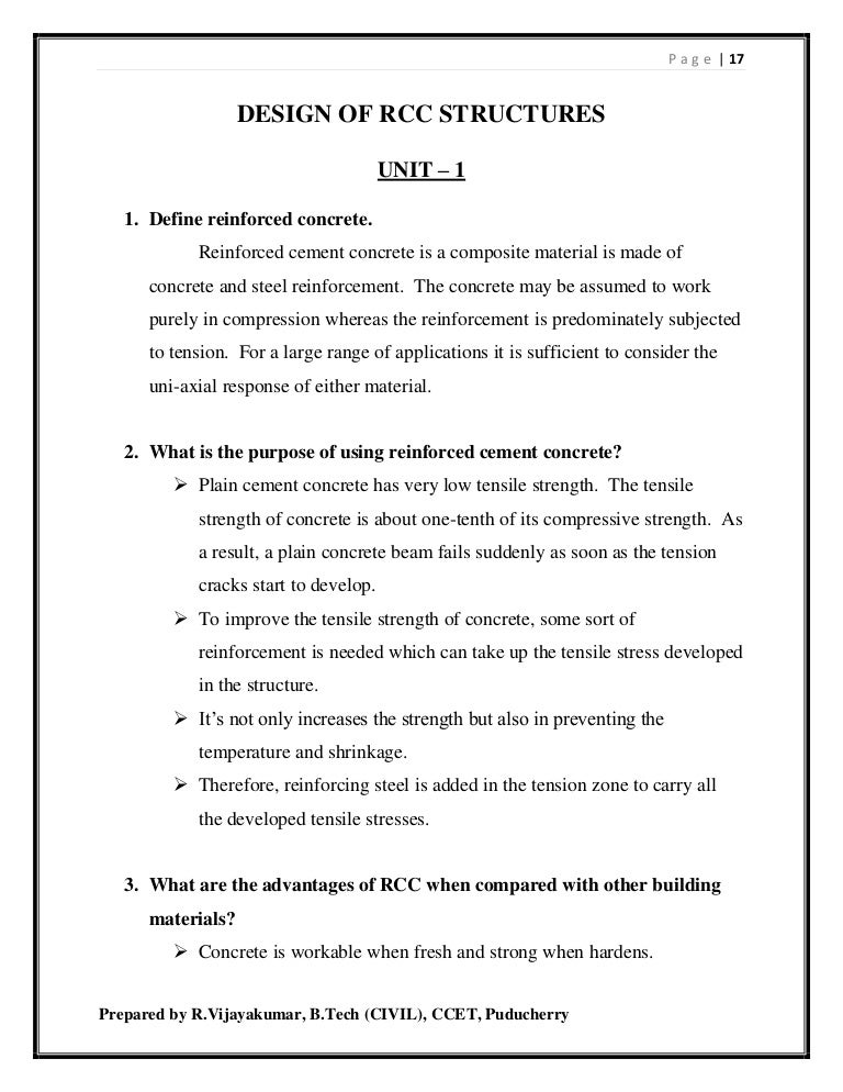 Design of rcc structures