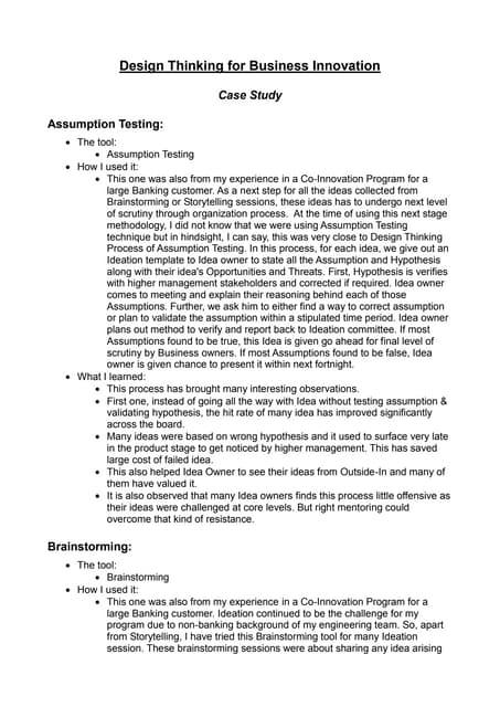 Design Thinking  - Case Studies