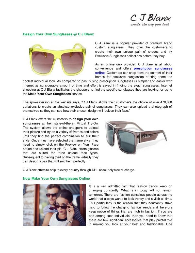Design your own sunglasses