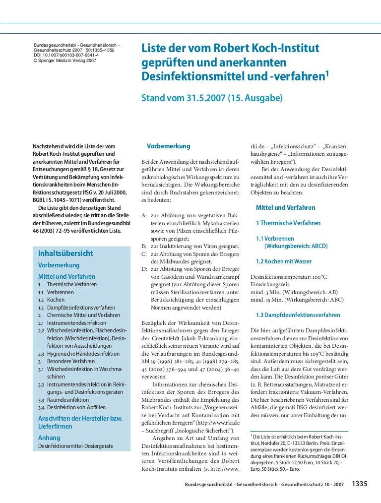 Desinfektionsmittelliste