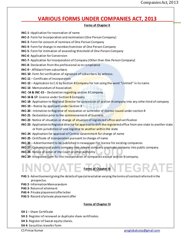 Forms under companies act 2013 yadclub Image collections