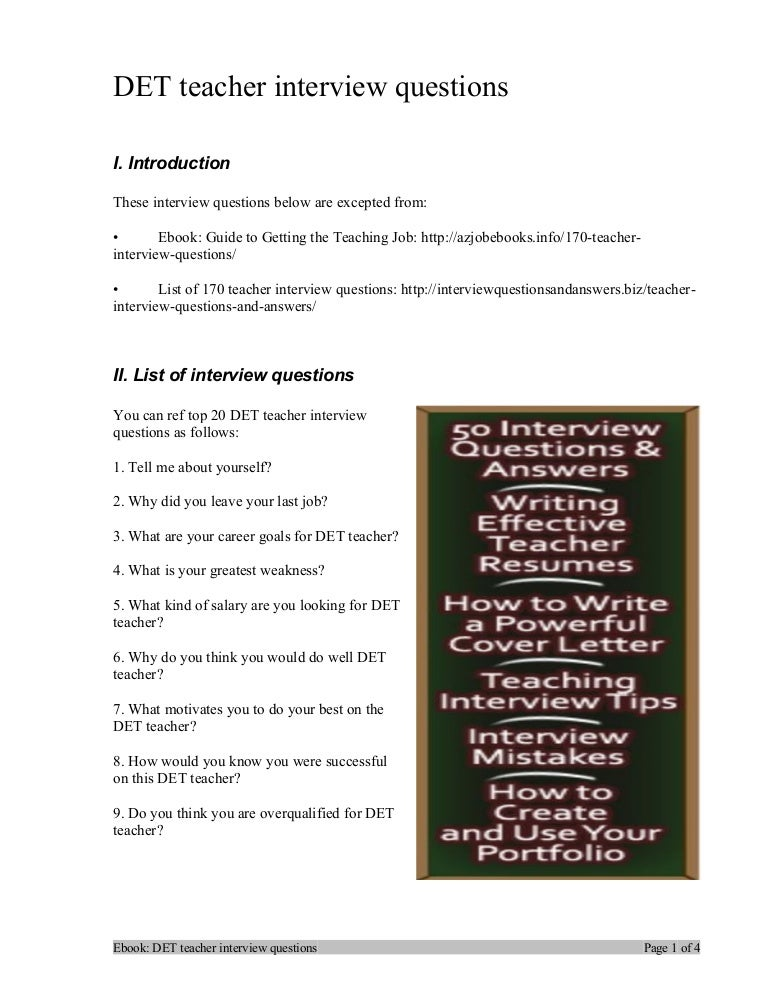 det teacher interview questions - Teacher Interview Tips For Teachers Interview Questions