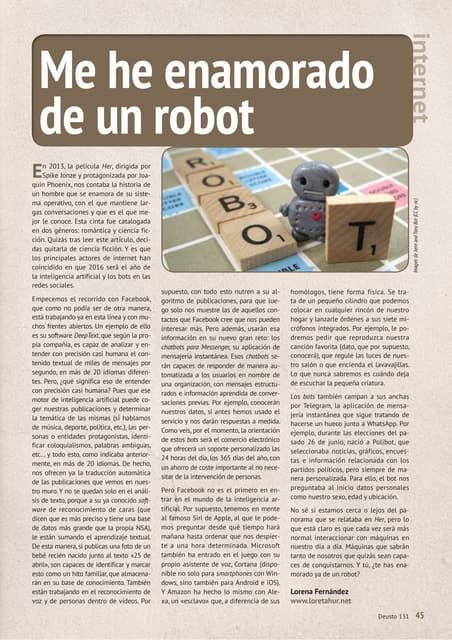 Me he enamorado de un robot