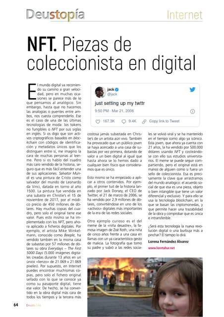 NFT. Piezas de coleccionista en digital