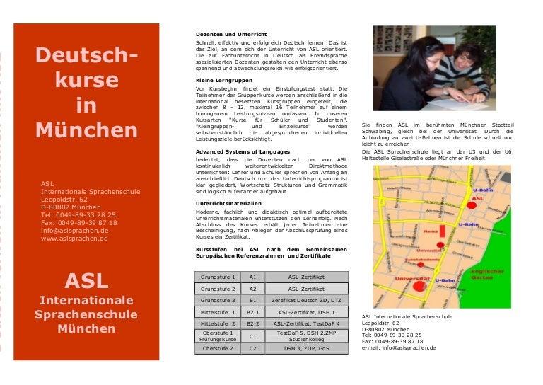 Deutschkurse In München Asl