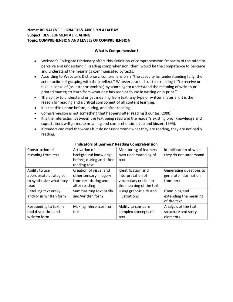 Comprehension And Levels Of Comprehension