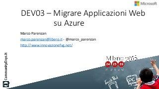 Migrare Applicazioni Web su Azure