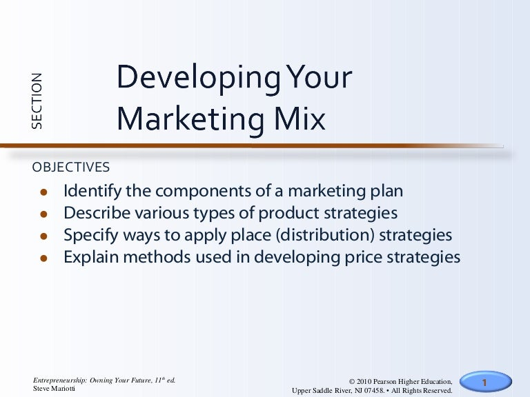 Developing Your Marketing Mix