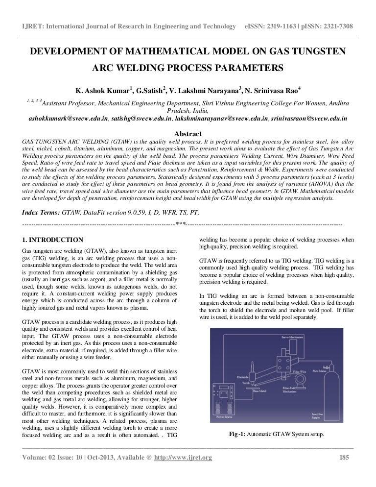 Development Of Mathematical Model On Gas Tungsten Arc Welding Process