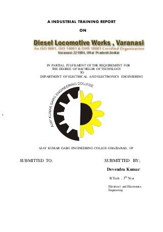 Industrial training report on dlw varanasi for Main Receiving Substation, Traction assembly shop, Maintenance area 2 and Loco Testing Shop(LTS)