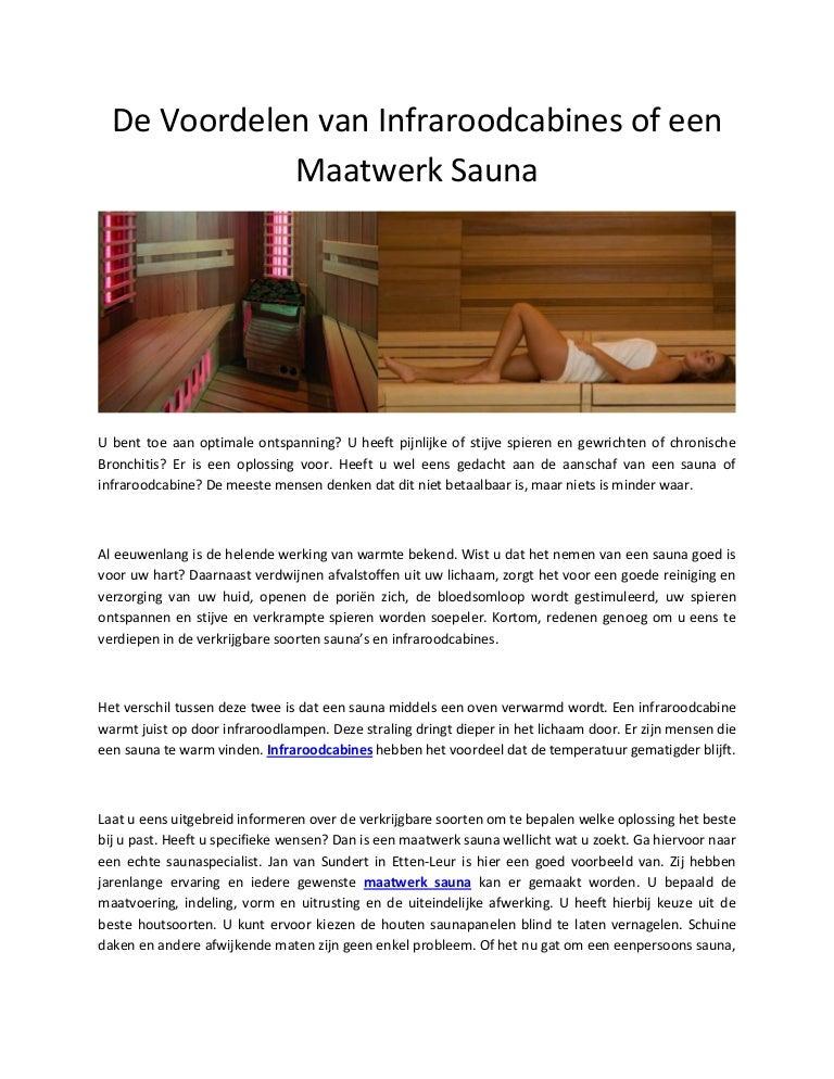 De Voordelen Van Infraroodcabines Of Een Maatwerk Sauna