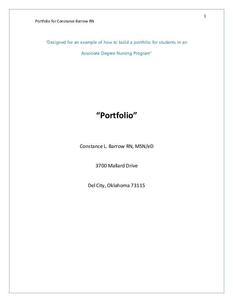 Academic onefile document professional nursing portfolios: a.