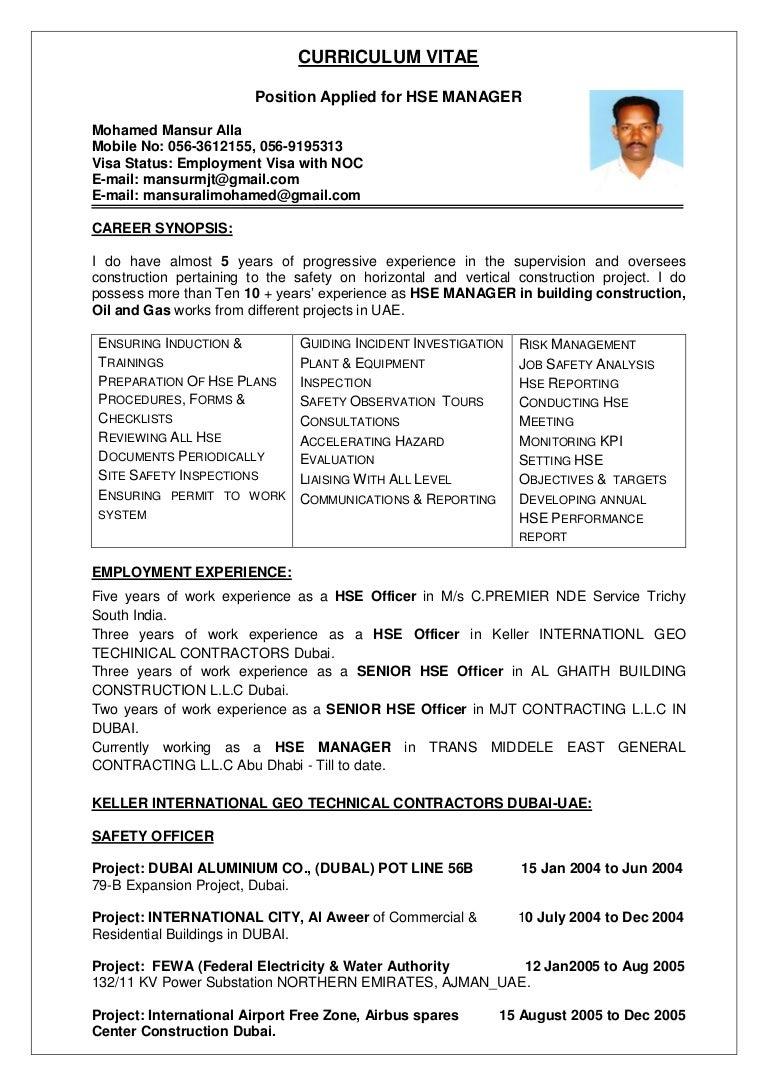 resume Position Applied For Resume mansur hse manager cv