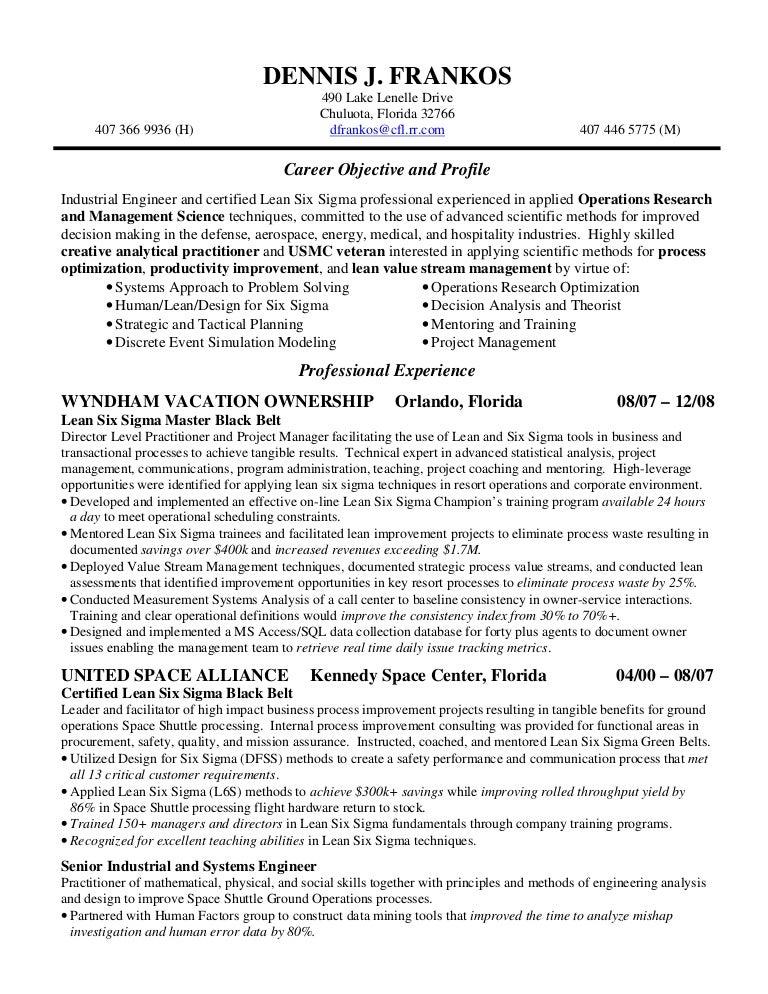 Six Sigma Black Belt Resume Six Sigma Black Belt Resume Examples